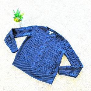 Navy Bass Cable Knit Sweater